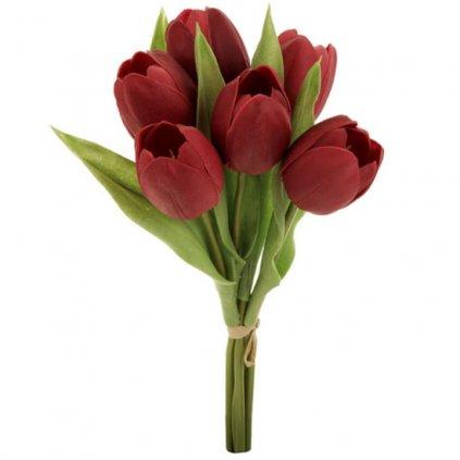 Umělá květina, tulipány červené 6 ks