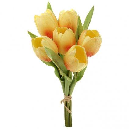 Umělá květina, tulipány žluté 6 ks