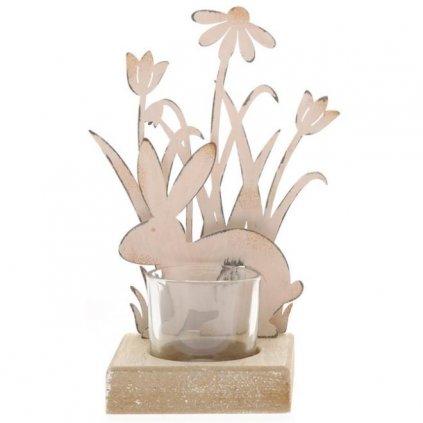 Velikonoční svícen se zajíčkem na čajové svíčky
