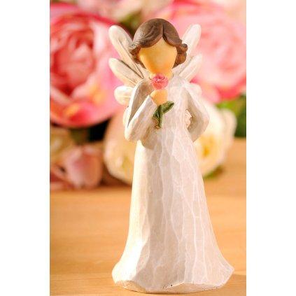 Anděl s růží, 13 cm