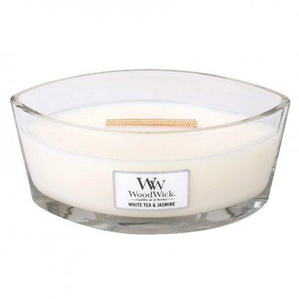 WoodWick - vonná svíčka White Tea & Jasmine (Bílý čaj a jasmín) 453g