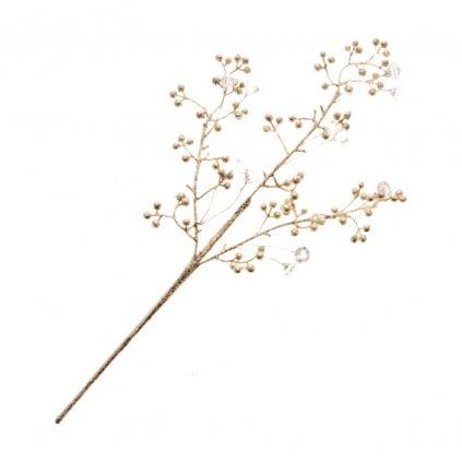 Zimní dekorace, zlatá větvička s kapkami z čirých korálků 13 cm