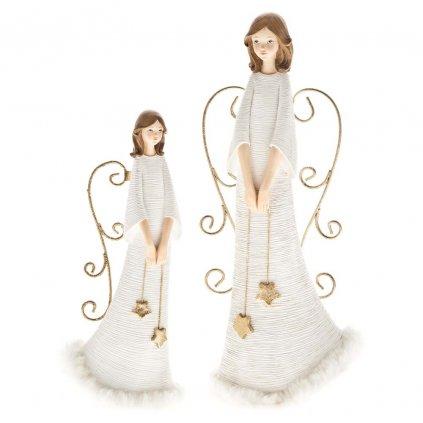 Anděl s hvězdičkami, bílý se zlatými křídly