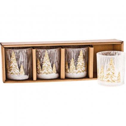 Svícen zlatý se zasněženými stromy, sada 4 ks