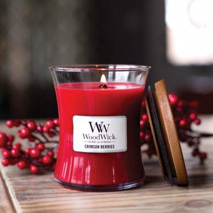 WoodWick- vonná svíčka Crimson Berries (Červená jeřabina) 275g