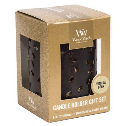 WoodWick - dárková sada Vanilla (Vanilka), 3x svíčka petite se svícnem