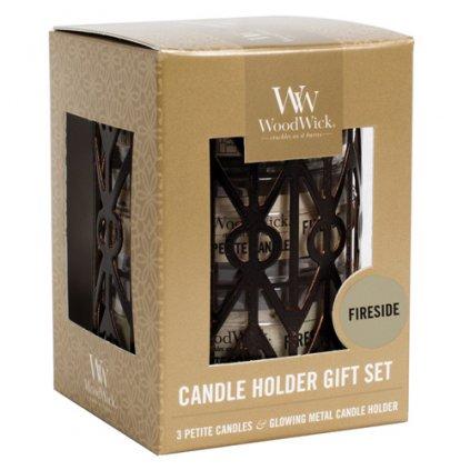 WoodWick - dárková sada Fireside (Oheň v krbu), 3x svíčka petite se svícnem