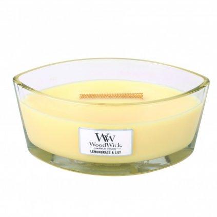 WoodWick - vonná svíčka Lemongrass & Lily (Citrónová tráva a lilie) 453g