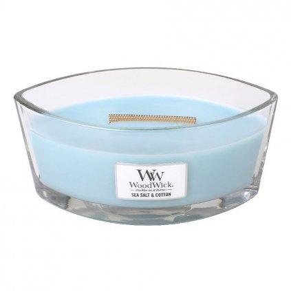 WoodWick - vonná svíčka Sea Salt & Cotton (Mořská sůl & bavlna) 453g