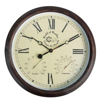 Esschert Design - venkovní hodiny s vlhkoměrem a teploměrem  38 cm