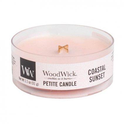 WoodWick - vonná svíčka Petite, Coastal Sunset (Západ slunce na pobřeží) 31g