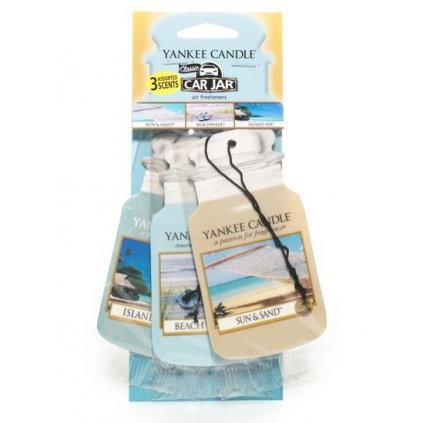 Yankee Candle - papírová visačka do auta Beach Vacation 3 ks