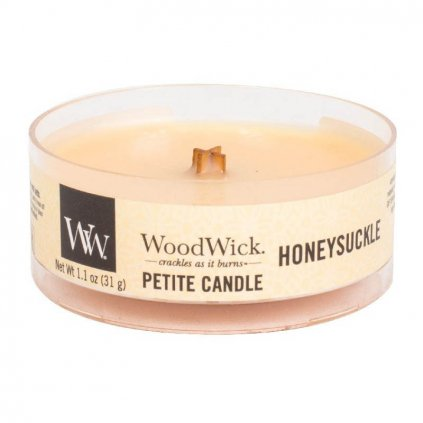 WoodWick - vonná svíčka Petite, Honeysuckle (Zimolez & jasmín) 31g