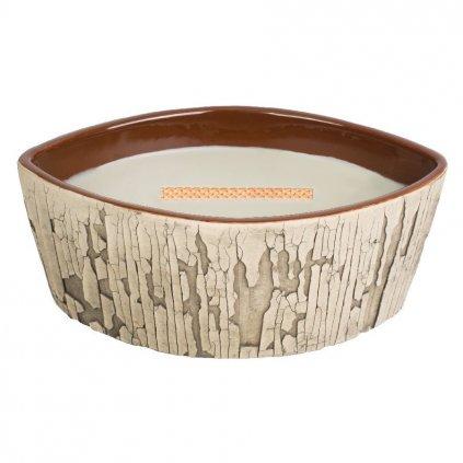 WoodWick - vonná svíčka Fireside (Oheň v krbu), keramika Fireplace 425g