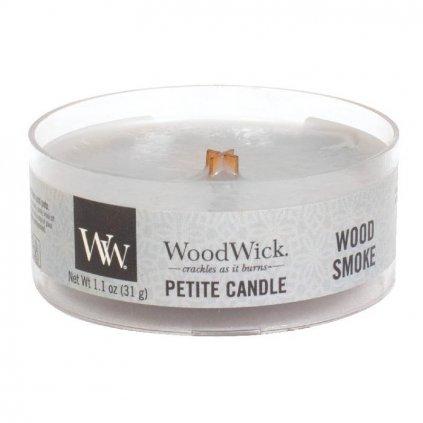 WoodWick - vonná svíčka Petite, Wood Smoke (Kouř a dřevo) 31g