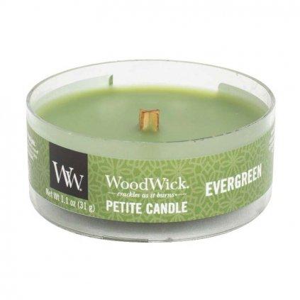 WoodWick - vonná svíčka Petite, Evergreen (Vůně jehličí) 31g