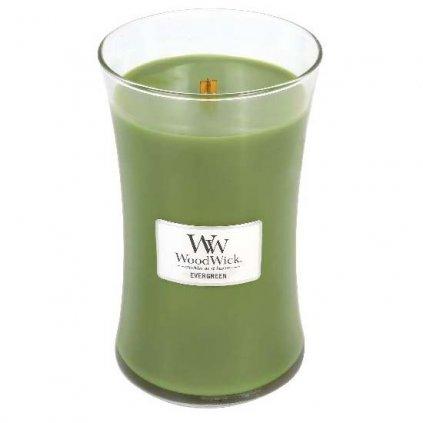 WoodWick - vonná svíčka Evergreen (Vůně jehličí) 609g