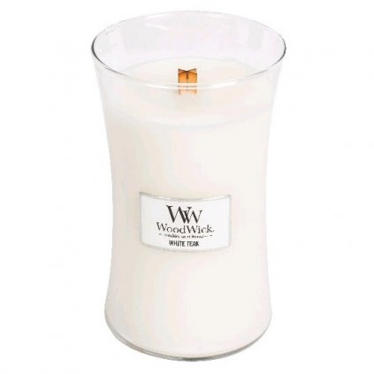 WoodWick - vonná svíčka White Teak (Bílý teak) 609g