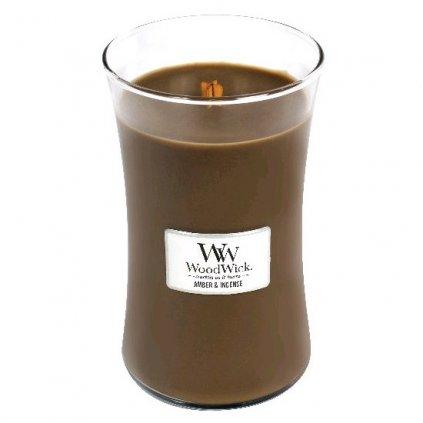 WoodWick - vonná svíčka Amber & Incense (Ambra & kadidlo) 609g