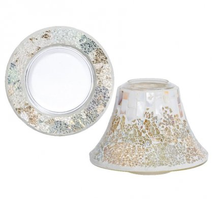 Yankee Candle - sada stínítka a talířku Gold & Pearl Crackle, na velkou svíčku