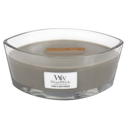 WoodWick - vonná svíčka Sand & Driftwood (Písek & naplavené dřevo) 453g