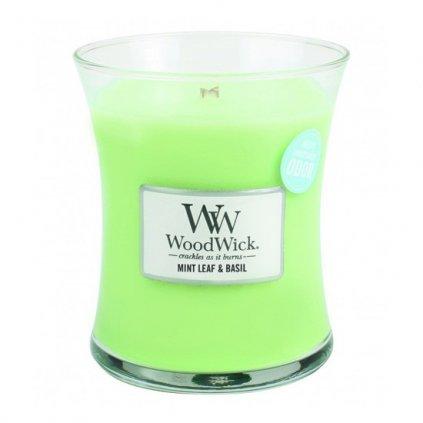 WoodWick - vonná svíčka Máta a bazalka 275g