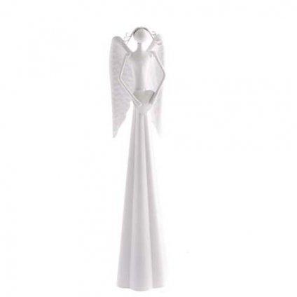 Casa de Engel - anděl se srdíčkem, bílý 25 cm