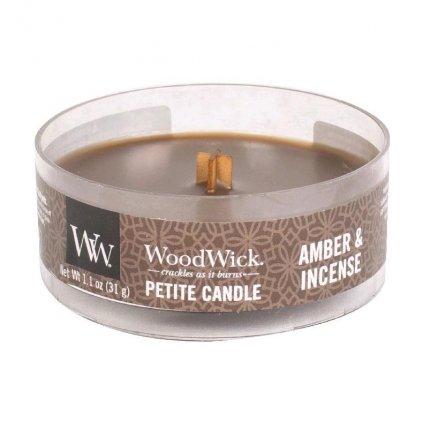 WoodWick - vonná svíčka Petite, Amber & Incense (Ambra a kadidlo) 31g