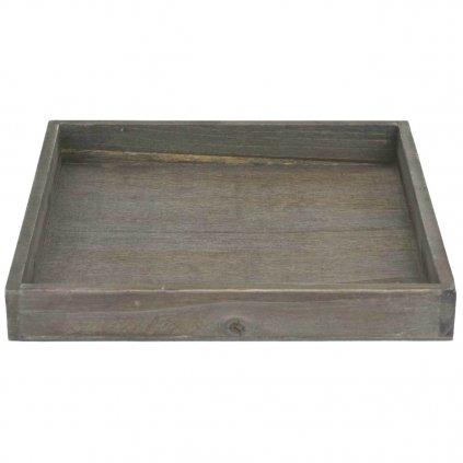 Tác dřevěný hnědý s patinou 30x30 cm