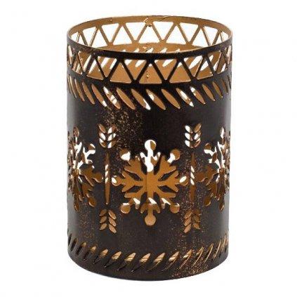 WoodWick - svícen Bronze Snowflake na Petite svíčku