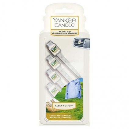 Yankee Candle - vůně do auta, kolíčky Clean Cotton 4 ks