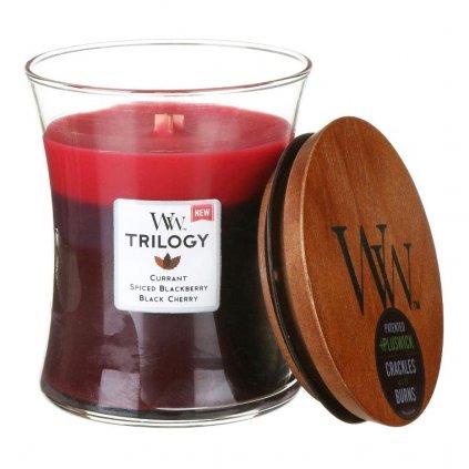 WoodWick - vonná svíčka Sun-Ripened Berries Trilogy (Letní bobule) 275g