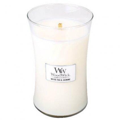 WoodWick - vonná svíčka White Tea & Jasmine (Bílý čaj a jasmín) 609g
