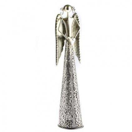 Casa de Engel - anděl se srdíčkem, stříbrný 49 cm