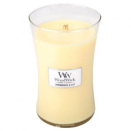 WoodWick - vonná svíčka Citronová tráva a lilie 609g