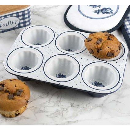 Katie Alice - keramický pekáč na muffiny Vintage Indigo