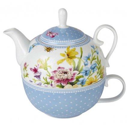 Katie Alice - porcelánový šálek s konvičkou English Garden