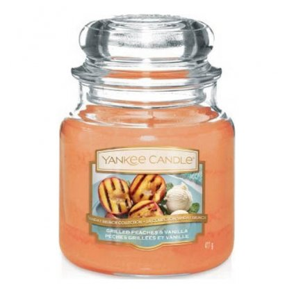 Yankee Candle - vonná svíčka Grilled Peaches & Vanilla (Grilované broskve a vanilka) 411g