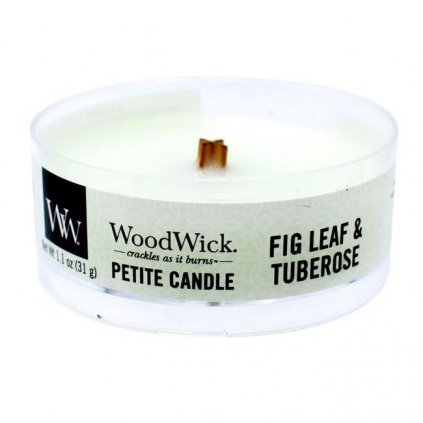 WoodWick - vonná svíčka Petite, Fig Leaf & Tuberose (Fíkové listy & tuberosa) 31g