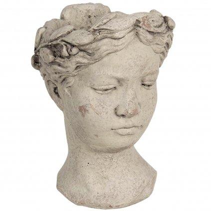 Clayre & Eef - květináč ve tvaru hlavy, betonový 25 cm