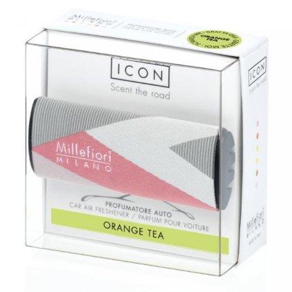 Millefiori Milano - ICON vůně do auta Orange Tea, textilní potah Geometric 47g