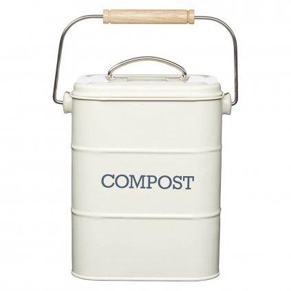 Kitchen Craft - plechový kompostér Living Nostalgia, krémový