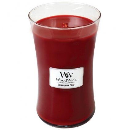 WoodWick - vonná svíčka Cinnamon Chai (Skořice a vanilka) 609g