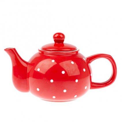 Casa de Engel - čajová konvička s puntíky, červená 1 l