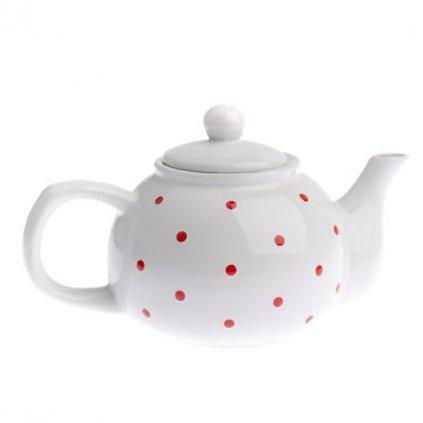 Casa de Engel - čajová konvička s puntíky, bílá 1 l