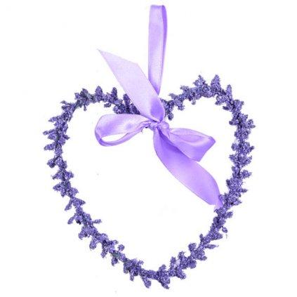 Levandulové srdce, dekorační věnec střední
