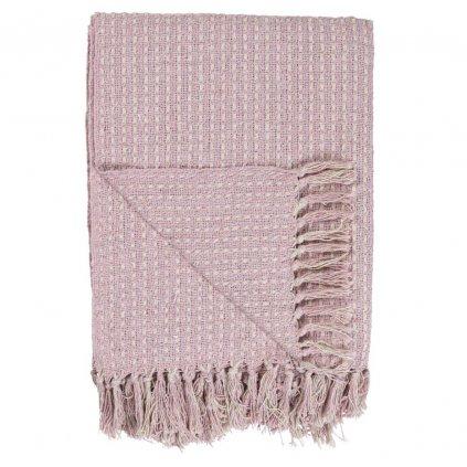 Ib Laursen - bavlněný pléd Cream Light Pink 130x160 cm