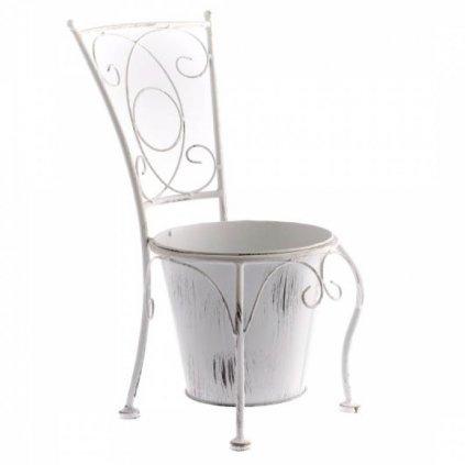 Casa de Engel - kovový květináč ve tvaru židle, bílý