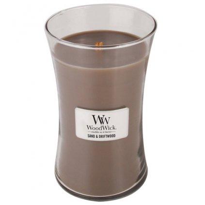 WoodWick - vonná svíčka Sand & Driftwood (Písek & naplavené dřevo) 609g