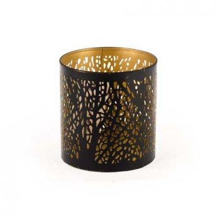Casa de Engel - svícen podzimní strom, černý se zlatým vnitřkem, 10 cm